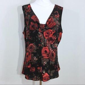 Talbots Red Black Rose Print 100% Silk Shell Top